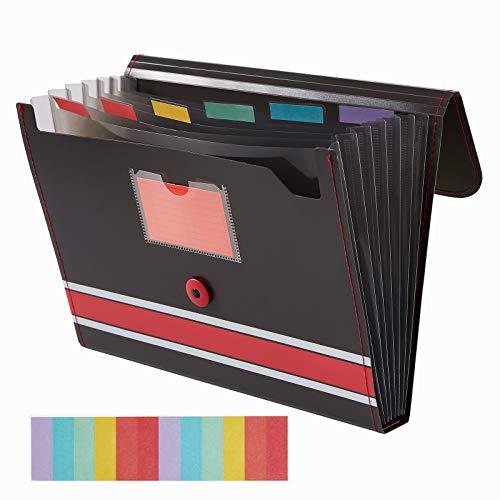 Sooez Expanding File Folder Paper Organizer with Sticky Labels, 7 Pockets File Organizer Accordion File Organizer, Letter/A4 Paper/Document Folder Organizer, File Folder Organizer File Holder, Red