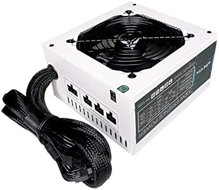Apevia ATX-ES700-WH Essence 700W ATX Semi-Modular Gaming Power Supply with Auto-Thermally Controlled 120mm Black Fan, 115/230V Switch, All Protections, White Casing