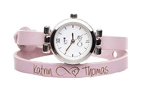 Lederarmband Uhr in rosa mit Inifnity Symbol und Wunschtext, Edelstahluhr mit versilbertem Gehäuse, Länge 42 cm, Breite 8 mm