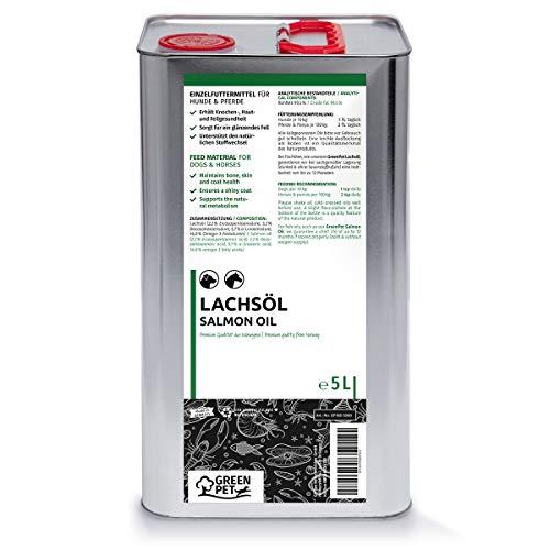 Greenpet Frisches kaltgepresstes Omega 3 Lachsöl in Premiumqualität 5 Liter oder Fischlachsöl No Minderwertigeres Fischöl für Hunde Hund und Pferd