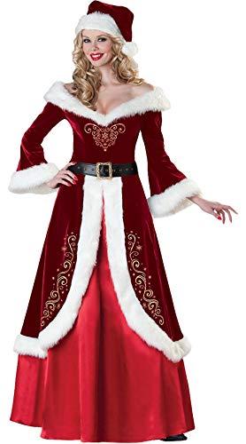 Lukis 3 Pcs M-2XL Costume Déguisement Mère Noël Robe Col V Patineuse Princesse Manche Longue Ceinture Chapeau Pompon Rétro Peluche Femme Adulte