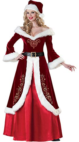 Lukis 3 Pcs M-2XL Costume Déguisement Mère Noël Robe Col V P