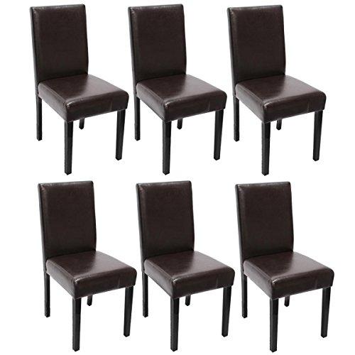Mendler 6X Esszimmerstuhl Stuhl Küchenstuhl Littau - Kunstleder, braun, dunkle Beine