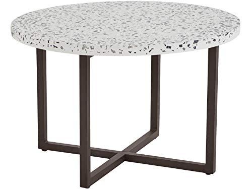 Loft 24 A/S Runder Couchtisch Sofatisch Beistelltisch Tischplatte Wohnzimmertisch Terrazzo-Tischplatte Metallbeine (Ø70 x 46 cm)