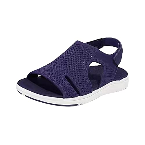 Mesh Wedges Sandals for Women with Ankle Strap Elastic Comfortable Lightweight Soft Casual Beach Sandals Open Toe for Walking Daily Dress Navy Blue Size 5.5