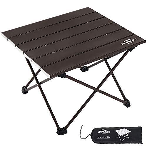 soomloom キャンプ テーブル アウトドアテーブル アルミニウム合金製 超軽量 折畳式 耐荷重30㎏ 収納ケース付き (ブラウン)