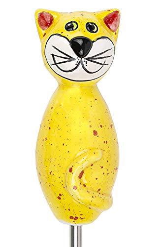 Manufaktur-Lichtbogen Katze aus Keramik gelb 17 cm hoch Gartenkeramik