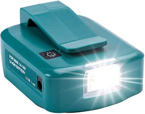 Adp05 Adaptador de fuente de alimentación Convertidor Fuente de alimentación de teléfono USB dual con puerto de CC Luz LED Compatible con Makita batería de iones de litio de 18 V BL1430 BL1830 BL1840