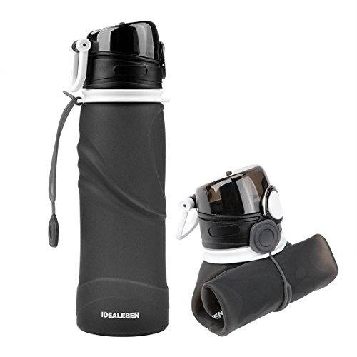 Idealeben 750ml Faltbare Trinkflasche Silikon Wasserflasche Tragbare Sportflasche Sportflasche für Outdoor und Sport LFGB Geprüft
