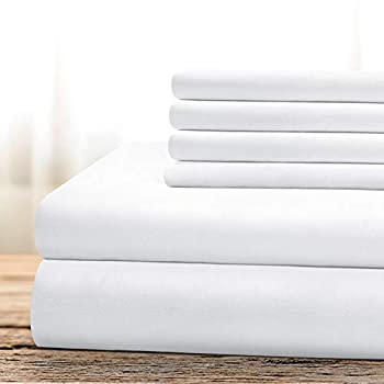 BYSURE Hotel Luxury Bed Sheets Set 6 Piece King White  - Super Soft 1800 Thread Count 100% Microfiber Sheets with Deep Pockets Wrinkle & Fade Resistant