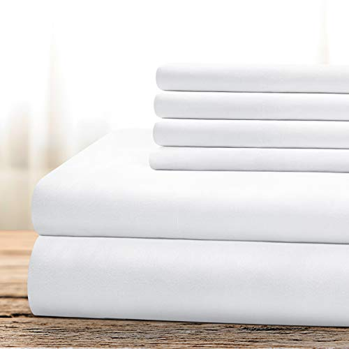 BYSURE Hotel Luxury Bed Sheets Set 6 Piece(King, White) - Super Soft 1800 Thread Count 100% Microfiber Sheets with Deep Pockets, Wrinkle & Fade Resistant