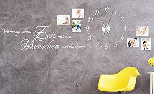 tjapalo® w-pkm275 150x58cm Wandtattoo Wohnzimmer Familie Wanduhr Wandtattoo Uhr mit Uhrwerk verbringe deine Zeit mit Menschen die du liebst