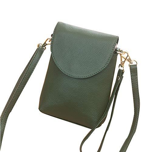 KangHan Bolso De Cuero para Teléfono Móvil De Moda Vertical para Mujer Pequeño Bolso para Teléfono Móvil Adecuado para iPhone 8 Plus O Teléfono Móvil Más Pequeño De 6.5 Pulgadas,Verde
