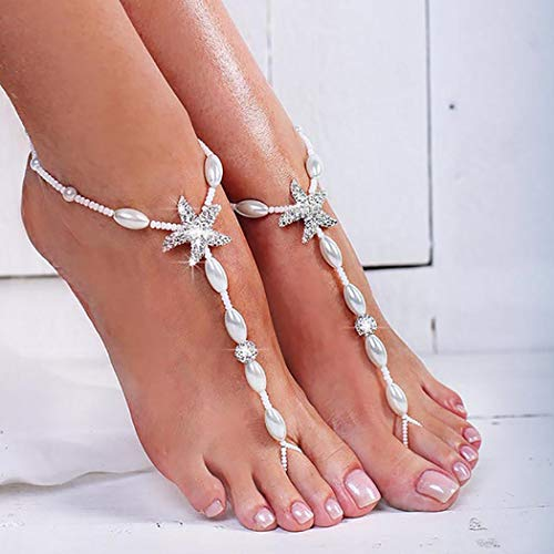 Bomine Boho Starfish Barefoot Sandals Anklets Pearl and Rhinestone Ankle Bracelet Beach Wedding Foot Chain Jewelry 2Pcsfor Women and Girls