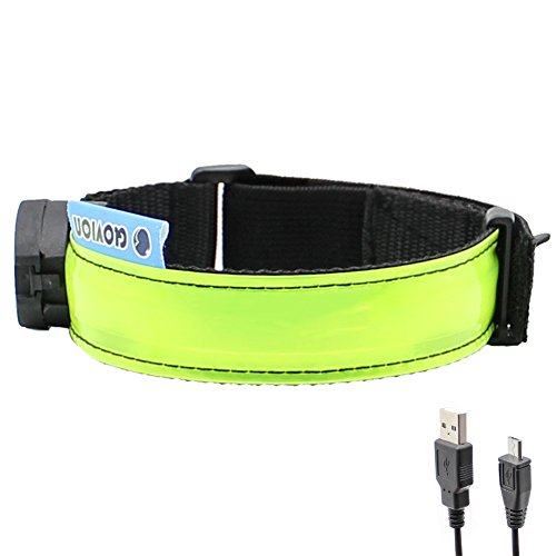 Glovion LED Armband - USB Rechargeable LED Running Armband Light- High Visibility Safety Gear for Night Running, Jogging & Cycling - Green