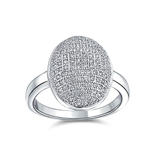Bling Jewelry Holiday Party Cubic Zirconia Oval Pave Dome AAA CZ Prom Pageant Fashion Statement Ring Silver Plated for Women