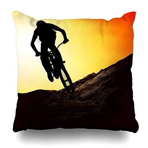 Throw Pillow Cover Square 16x16 Contour Mountain On Mountainbike Sunset Parks Bike Tour Sports Recreation Extreme Activity Adventure Design Zippered Cushion Case Home Decor Pillowcase 18X18in