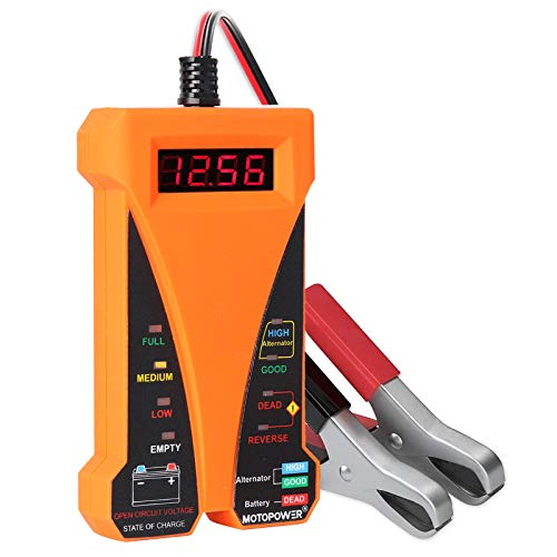 MOTOPOWER MP0514D 12 V Digitaler Batterietester Voltmeter und Ladesystem-Analysator mit LCD-Display und LED-Anzeige - Orange