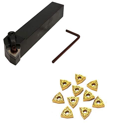 Guangcailun Edelstahl 20mm Lathe Turning-Halter-Werkzeug MWLNR2020K08 + 10 WNMG0804 Karbid-Einsätze Set