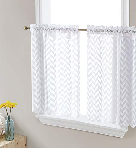 HLC.ME Herringbone Lace Sheer Kitchen Cafe Curtain Tiers for Small Windows & Bathroom - 30 W x 45 L Inch (White Tiers, Set of 2)
