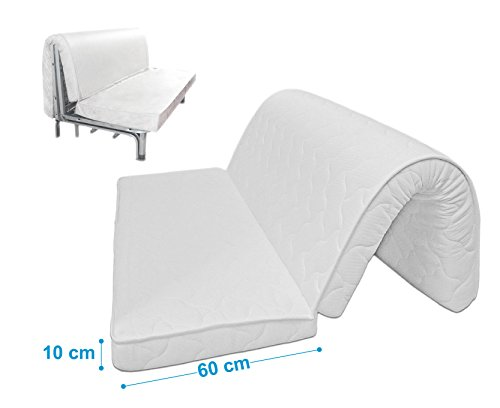 Baldiflex , Materasso per Divano Letto in Memory Foam Brio Prontoletto Memory, con Piega su Seduta, Ortopedico, ergonomico, Anallergico, 160x190x10cm
