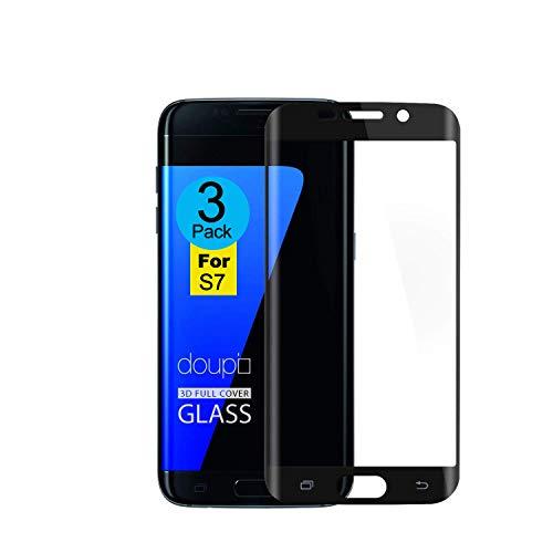 AMNIE [3 Stück] Panzerglas Schutzfolie für Samsung Galaxy S7, [Kratzresistent] [Fingerabdruckresistent] [Ultradünn] Flexible Fiberglasschutzfolie für das Samsung Galaxy S7 - Schwarz