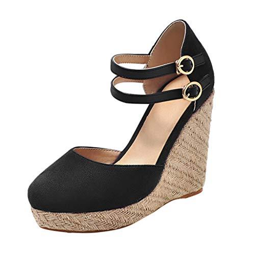 Dorical Damen Espadrilles,Basic Closed Toe Geschlossene Sandalen mit Keilabsatz Double Schnalle für Mutter 35-43 EU(Schwarz,42 EU)