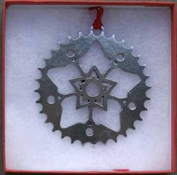 Dana Paige Designs Sprocket/Snowflake Bicycle Ornament - Bike Ornament - Handmade Sprocket/Snowflake Bike Ornaments