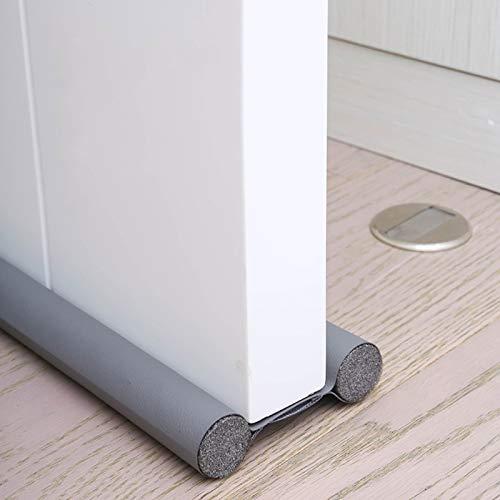 96 cm Zugluftstopper unter der Tür Fenster unten Dichtungsstreifen Noise Blocker, abwaschbare schneidbare Lederrohre Füllen Sie mit EPE für Innentüren und Fenster Stop Drafty (2 Artikel Grau)