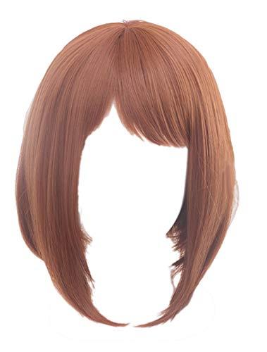 ECOS Ochako Uraraka Brown Cosplay Wig (Uraraka Wig) with Bangs My Hero Academia Boku No Hero Akademia, Length:30cm