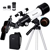 Deesoo Telescopes for Adults Kids - Portable Travel Scope FMC Lens with Adjustable Tripod Backpack Phone Holder for Moon Viewing - 70mm Aperture 400mm Refractor Telescope for Astronomy Beginners