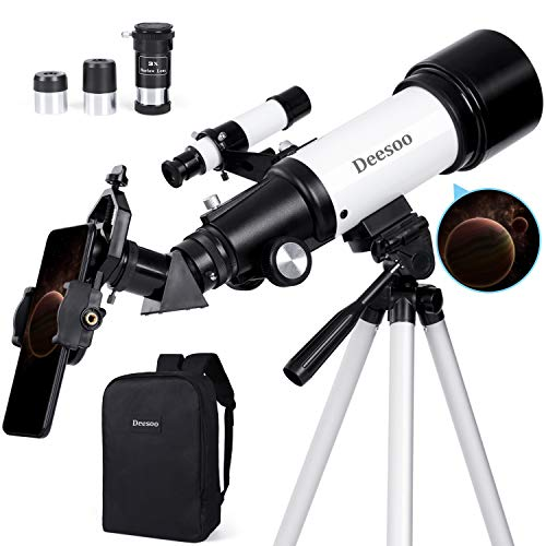 Deesoo Astronomical Telescopes for Kids Beginners - Portable Travel Scope FMC Lens with Adjustable Tripod Backpack Smartphone Holder - 70mm Aperture 400mm Refractor Telescope for Astronomy Adults