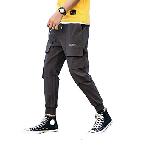 Men's Cargo Pants Simple Daily Self-Cultivation Jogging Drawstring Elastic 3XL Dark Gray