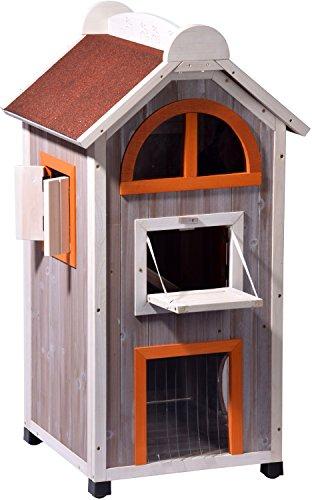 """dobar 55018FSC Großes Katzenhaus """"Fancy Cat"""" aus Holz für draußen/drinnen, Katzenturm mit 6 Öffnungen und Hängematte, XL, grau/orange/weinrot"""