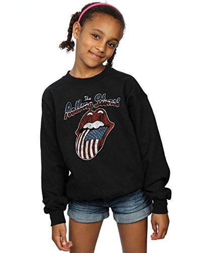 Rolling Stones niñas Tour of America Camisa De Entrenamiento 9-11 Years Negro