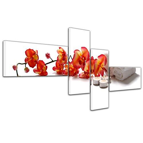 Bilderdepot24 Impression d'art - Orchidée - Spa - Image sur Toile 140 x 65 cm 4 pièces - Images comme Une Impression de Toile - Esprit et âme - Orange - Fleur - Orchidée avec Une Serviette
