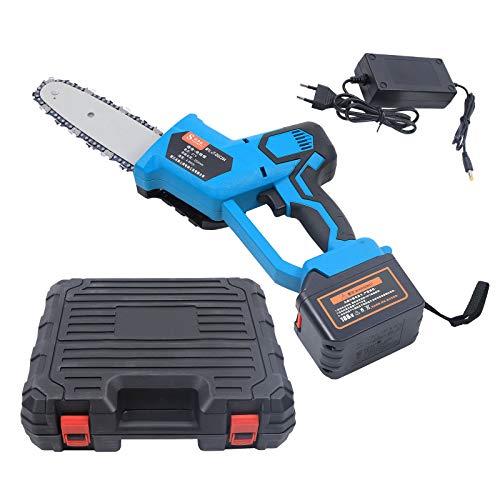 OUKANING Motosierra eléctrica,Potente sierra eléctrica de 300 W con batería,Motosierra automática de 8 pulgadas con protección contra retroceso y cerrojo
