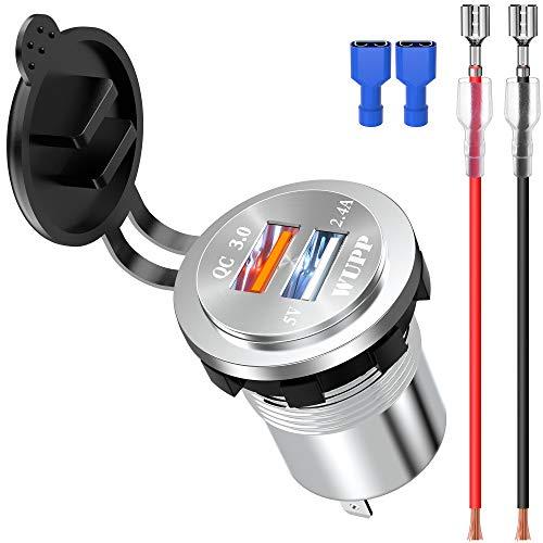 Preisvergleich Produktbild ShinePick 12v USB Steckdose,  3, 0 Quick ChargeKFZ USB Ladegerät,  12-24v Wasserdicht Aluminium Auto Einbausteckdose Adapter für Auto / Motorrad / Boot / Wohnwagen(Weiß)