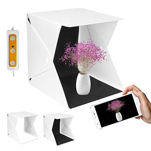 Yorbay Fotostudio Fotobox Mini Tragbares Lichtzelt dimmbar 22x23x24 cm Kaltweiß 6000K 10 Helligkeitsstufen mit 2 Hintergrund (Weiß/Schwarz)