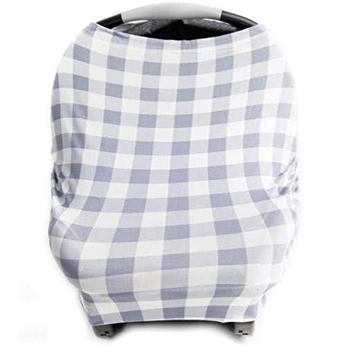 Car Seat Cover for Babies Nursing Cover Carseat Canopy  Grey Plaid