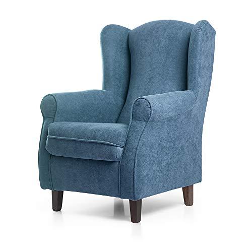 SUENOSZZZ-ESPECIALISTAS DEL DESCANSO Sillon Relax, Sillon orejero para Lactancia Irene. Tapiceria Antimanchas acualine Color Azul. Butaca para Dormitorio, Salon o habitacion de Bebe