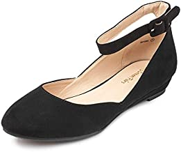DREAM PAIRS Women's Revona Black Suede Low Wedge Ankle Strap Flats Shoes - 9.5 B(M) US