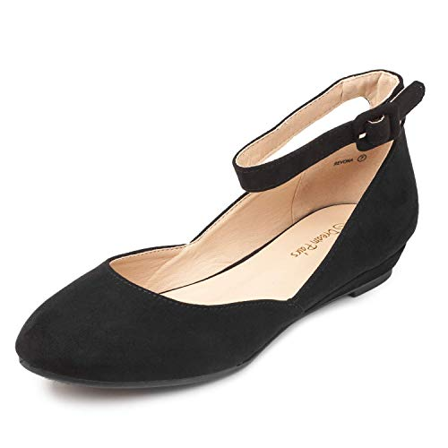 DREAM PAIRS Women s Revona Black Suede Low Wedge Ankle Strap Flats Shoes - 8 B(M) US