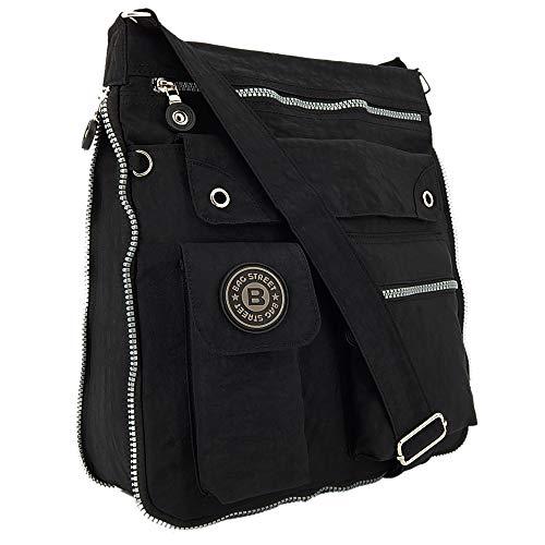 ekavale - leichte Damen-Umhängetasche - Praktische Crossbody-Handtasche - mit vielen fächern - Schultertasche   wasserabweisende Damentasche (Schwarz)