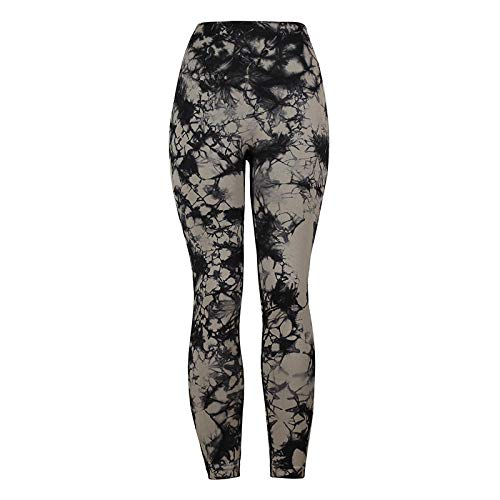 Leggings Fitness Suaves Elásticos,Push up Cintura Alta Yoga Leggings,Pantalones de Yoga Tie-Dye, Pantalones de Fitness con Cintura Alta y Levantamiento de Cadera-Black_XXL