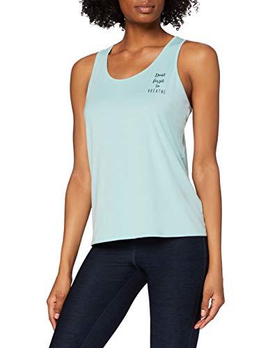 Marca Amazon - AURIQUE Camiseta Yoga con Eslogan y Abertura en la Espalda Mujer, Azul (Ether), 42, Label:L