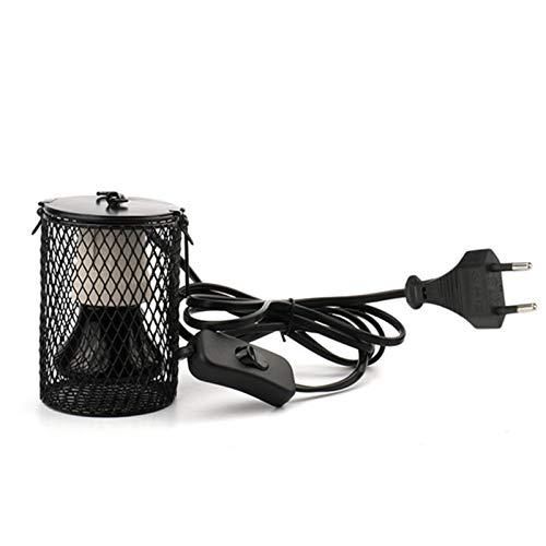 lennonsi Reptilien Wärmelampe Keramikheizung Reptilienwärmelampe Heat Floodlight Ceramic Haustierheizlampe, Glühbirne × 1 + Verbrühschutzlampenständer × 1, 220V