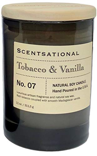 Scentsational Tobacco Vanilla Scented Candle in a Smokey Gray Jar