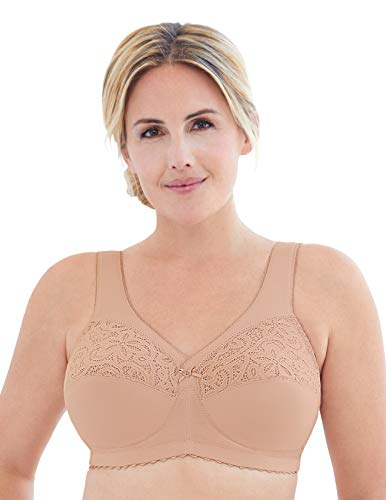 Glamorise Women's Full Figure Plus Size MagicLift Cotton Wirefree Support Bra #1081, Café, 52J