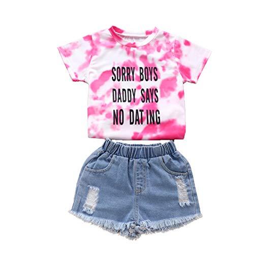 Conjunto de verano para niña, 2 piezas, camiseta con impresión de letras tie-dye de manga corta y cuello redondo + pantalones vaqueros con tirantes, elásticos, 2 – 7 años rojo 6-7 Years